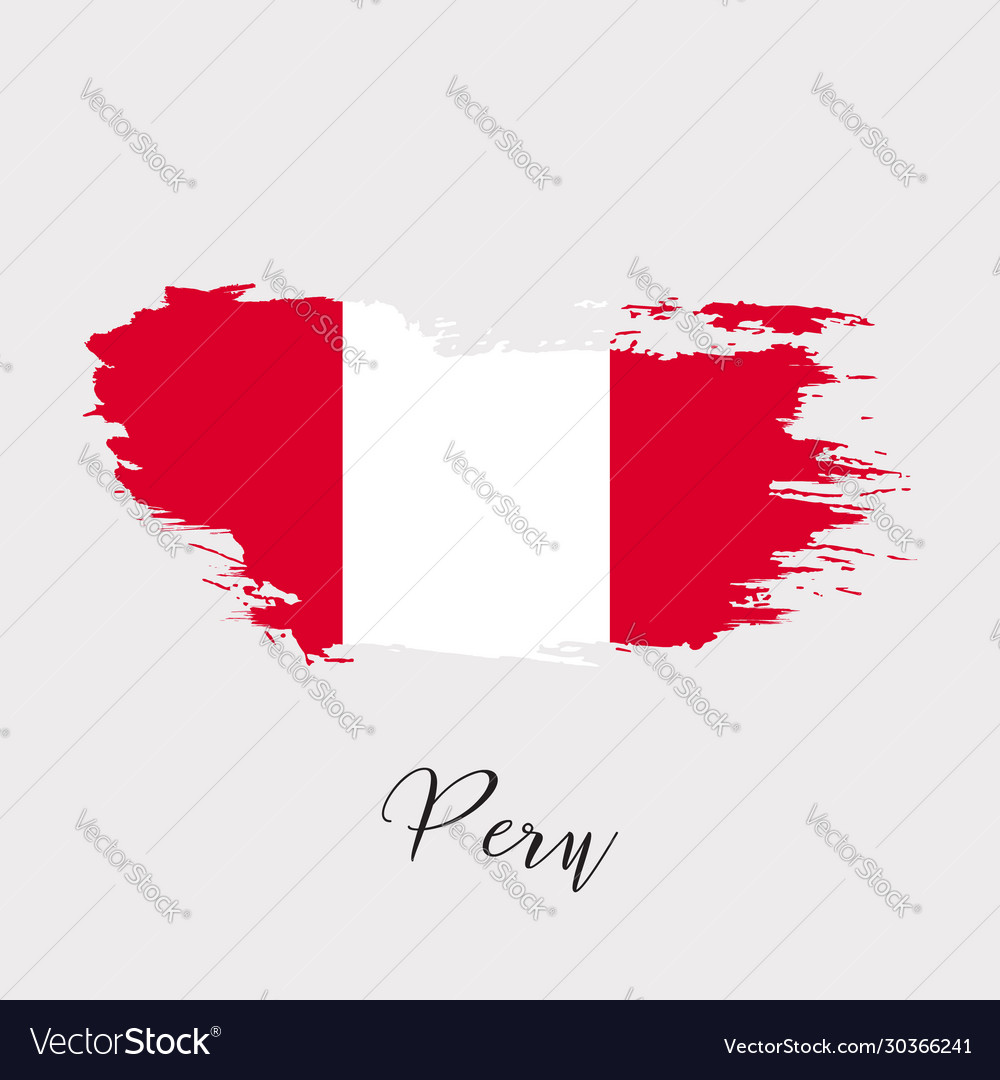 Peru watercolor national country flag icon