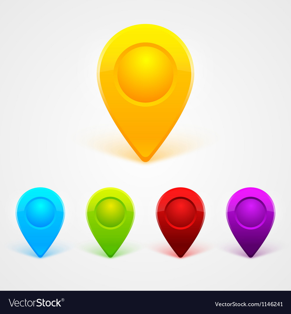 Simple colored gps icons vector image