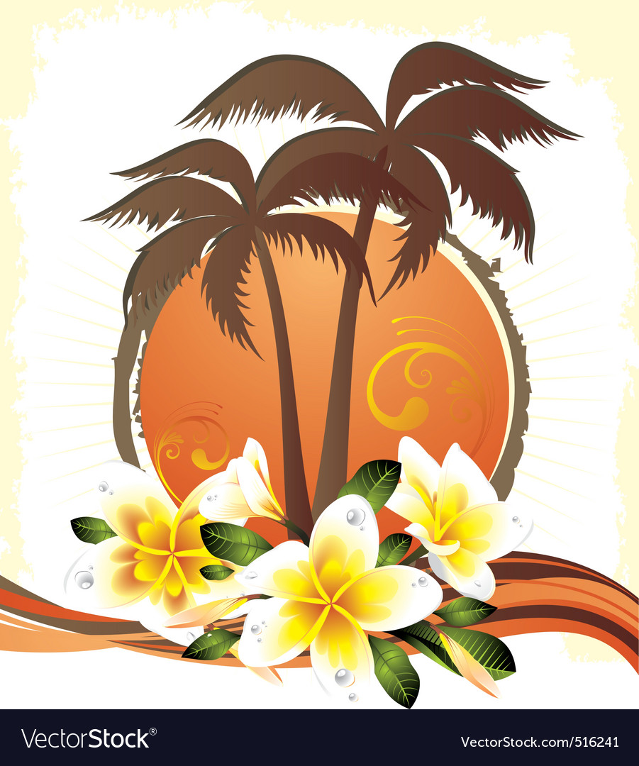 Tropical grungestyle vector image