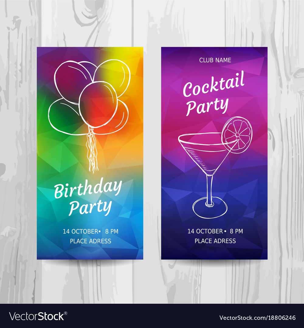 Birthday party invitation card cocktail party