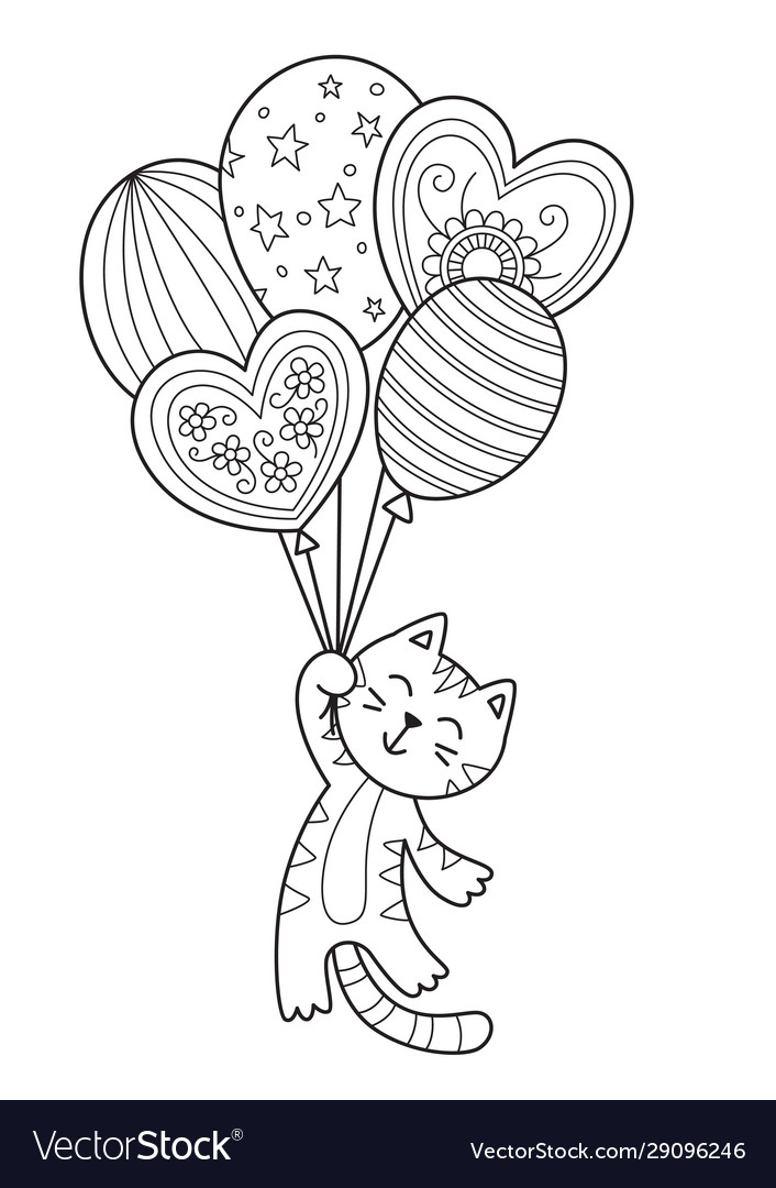 Doodle coloring book page cat with balloons