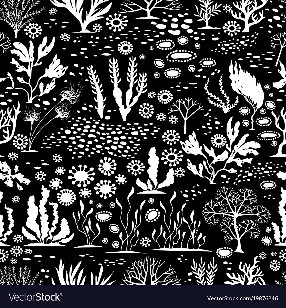 Doodle seamless cartoon underwater background vector image