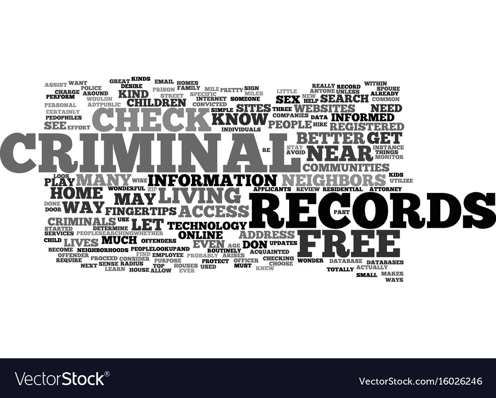 Free criminal records check text background word