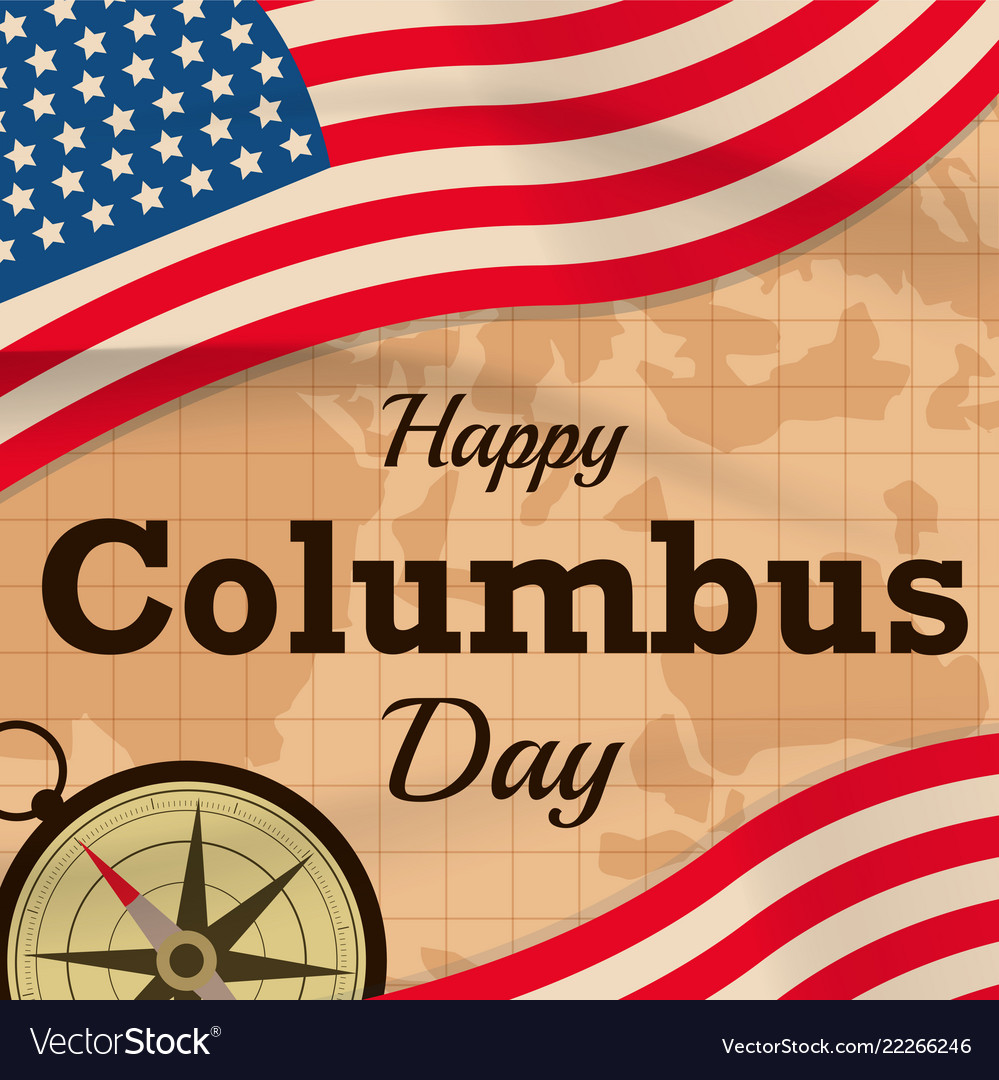 Happy columbus day with usa flag on map
