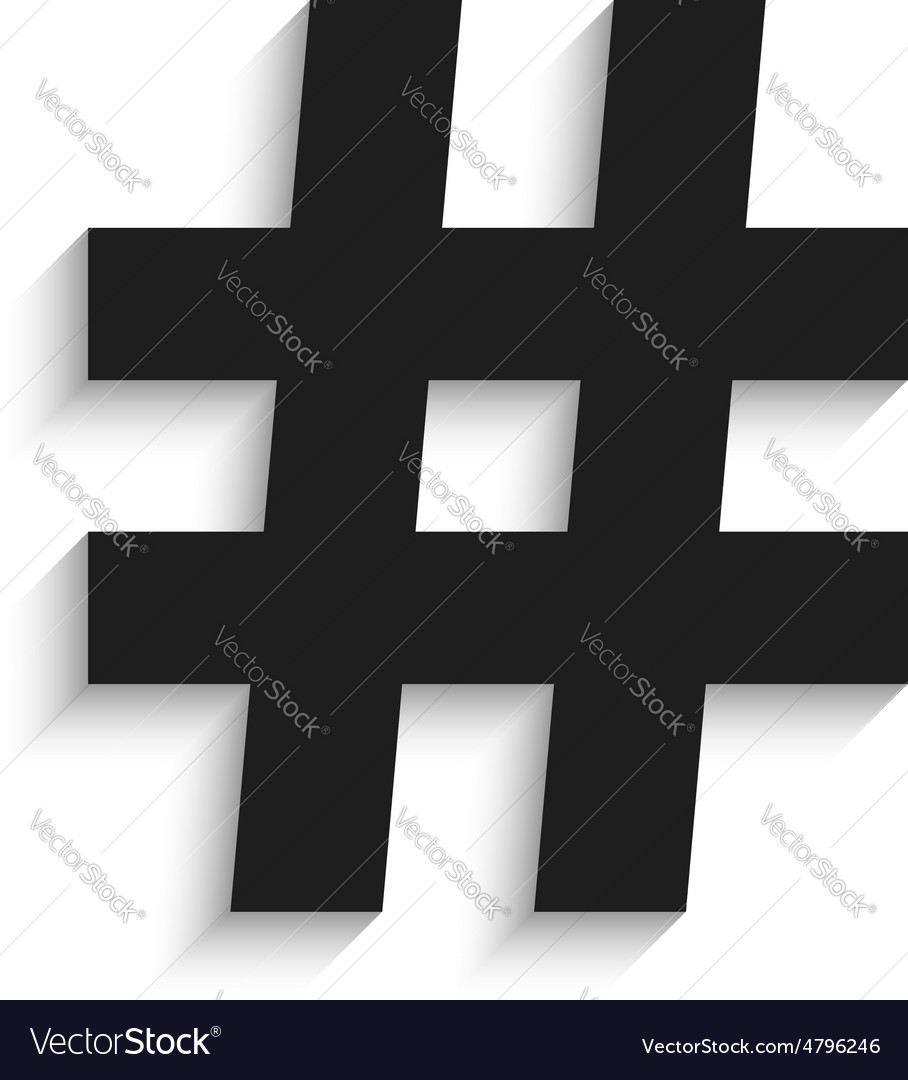 Hashtag black icon with shadow isolated on white vector image