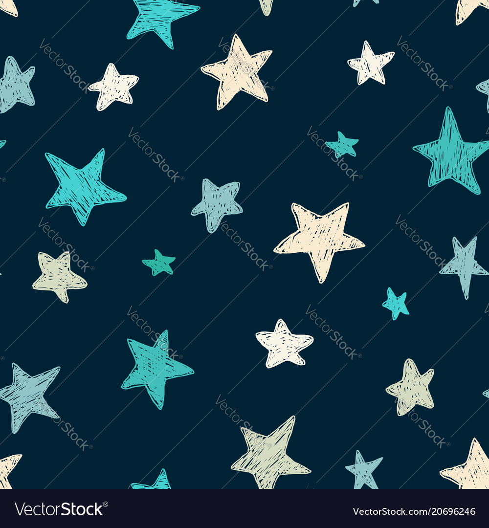 Kids pattern with doodle textured stars