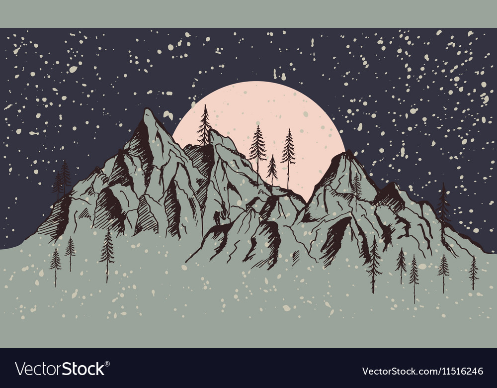Landscape of mountains in winter time vector image