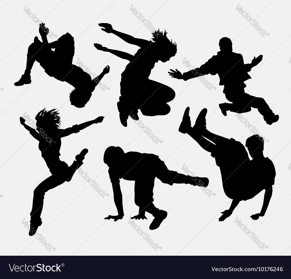 Pakour dancer material art sport silhouette
