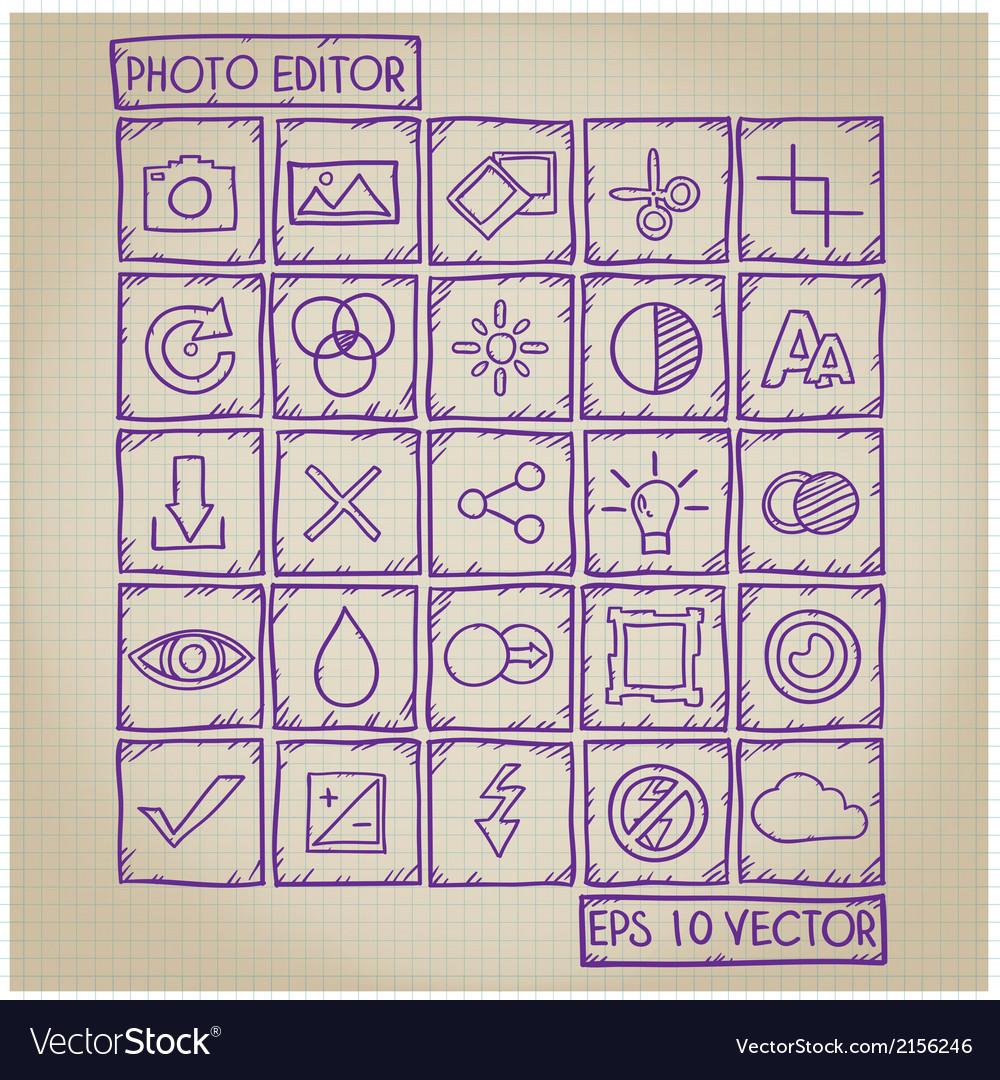 Photo Editor Icon Doodle Set vector image