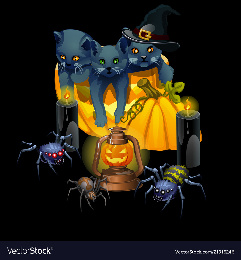 Poster in style holiday all evil halloween
