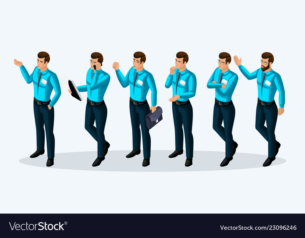 Quality isometry 3d men corporate lifestyle