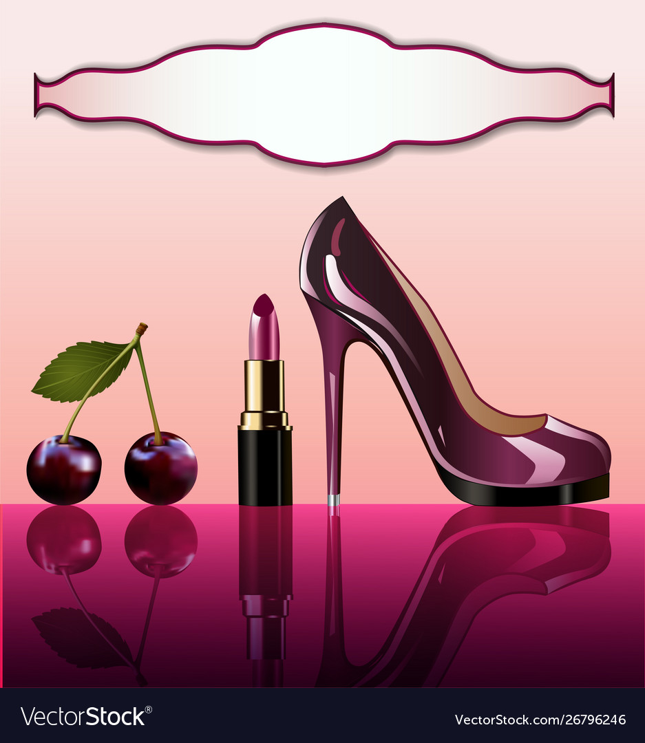 Shiny glamorous shoes and cherry lipstick with