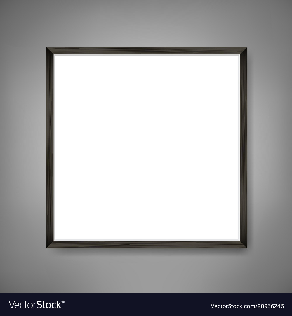 Square blank framed poster on grey wall