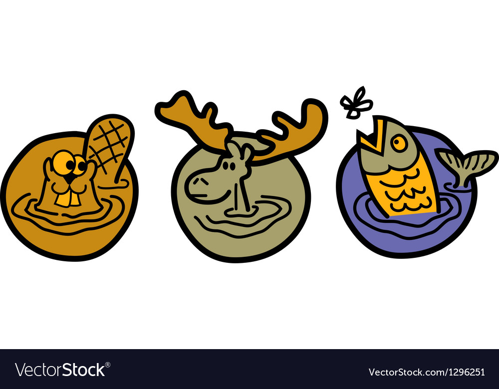 Beaver moose and trout vector image