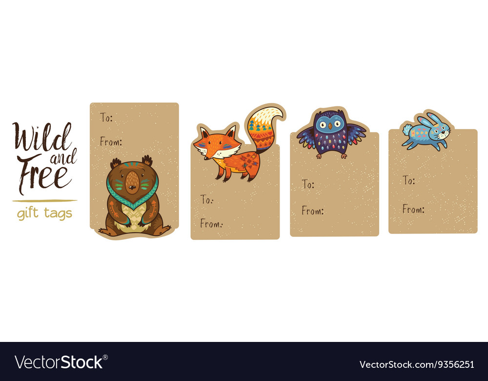 Collection woodland gift tags