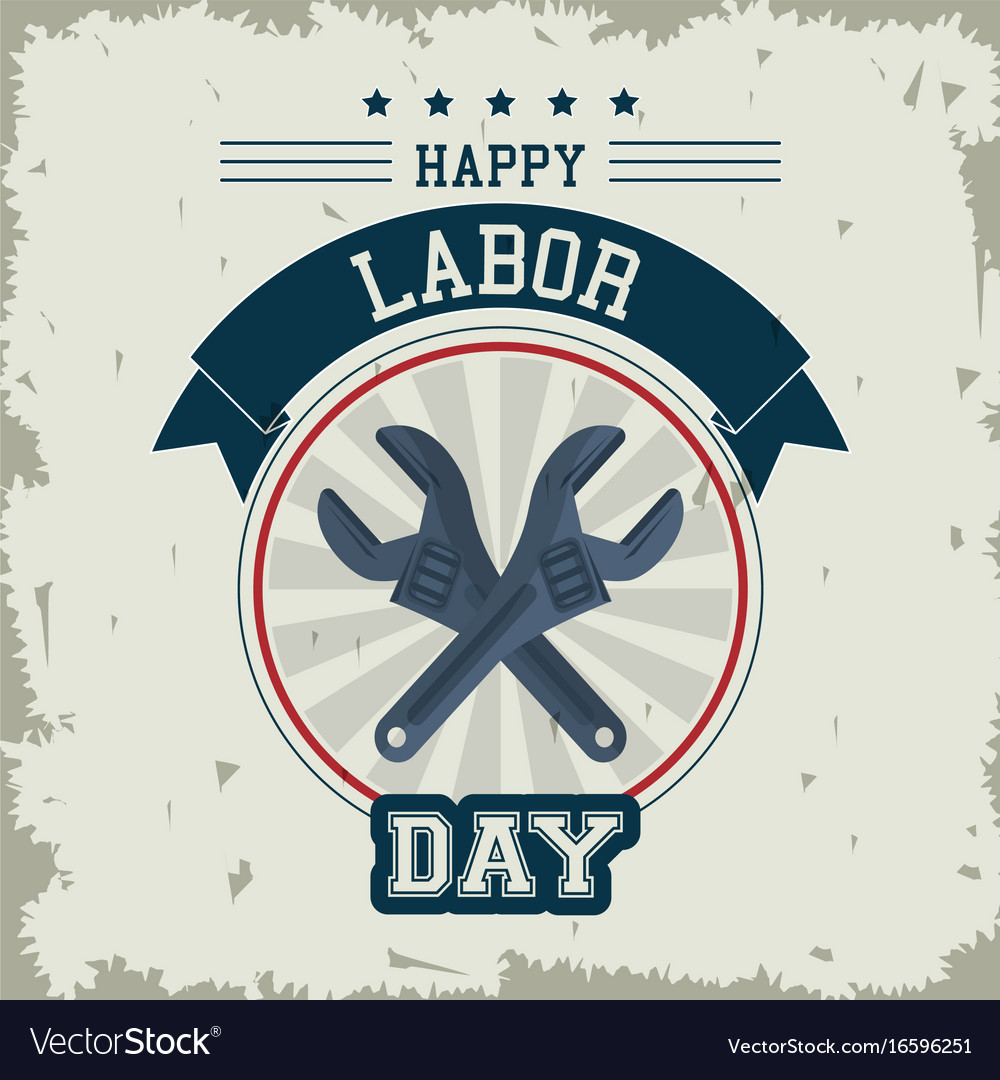 Colorful emblem of happy labor day with crossed