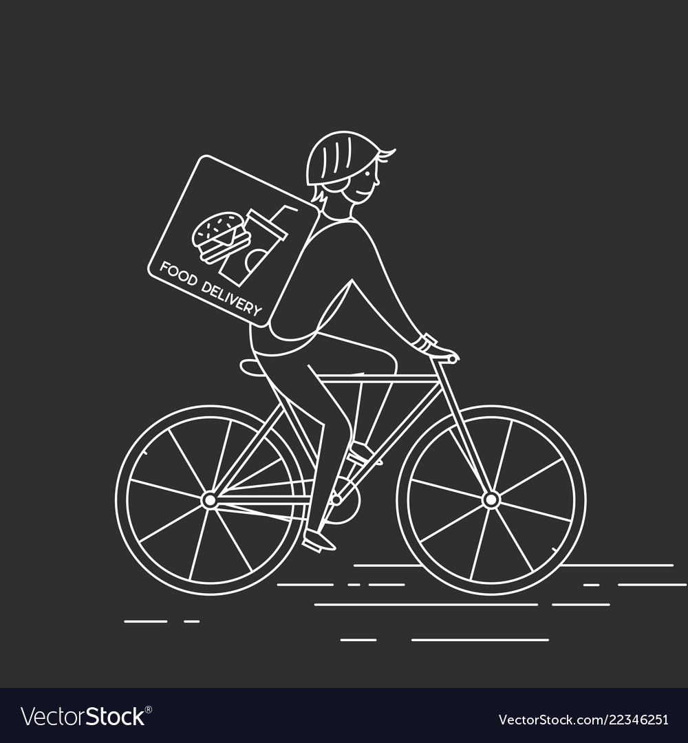 Courier on bicycledelivering food