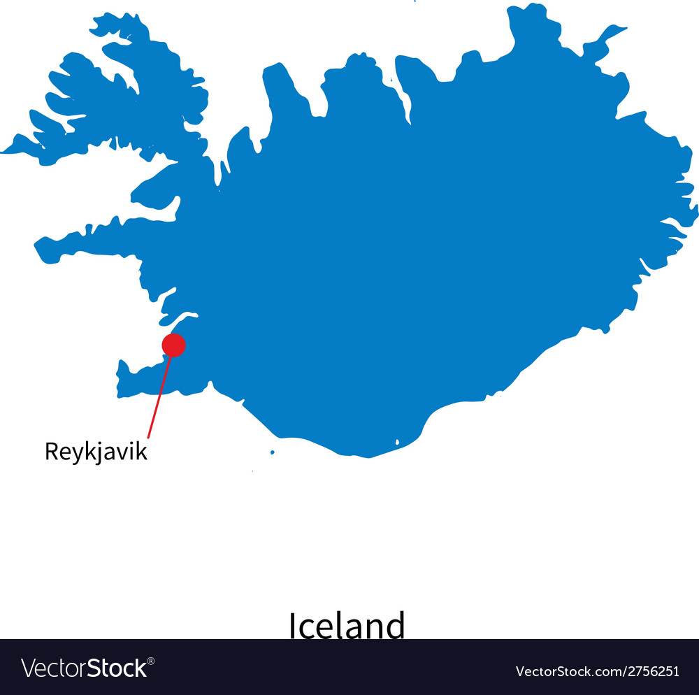 Detailed map of Iceland and capital city Reykjavik