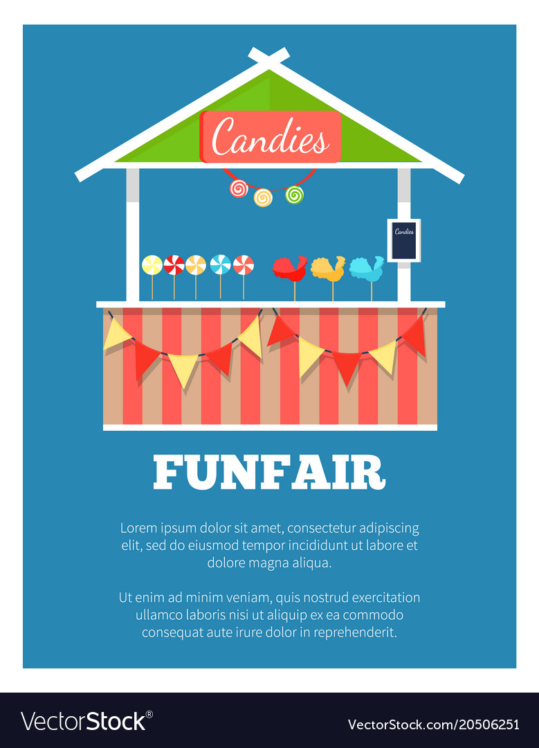 Funfair poster with market candies counter