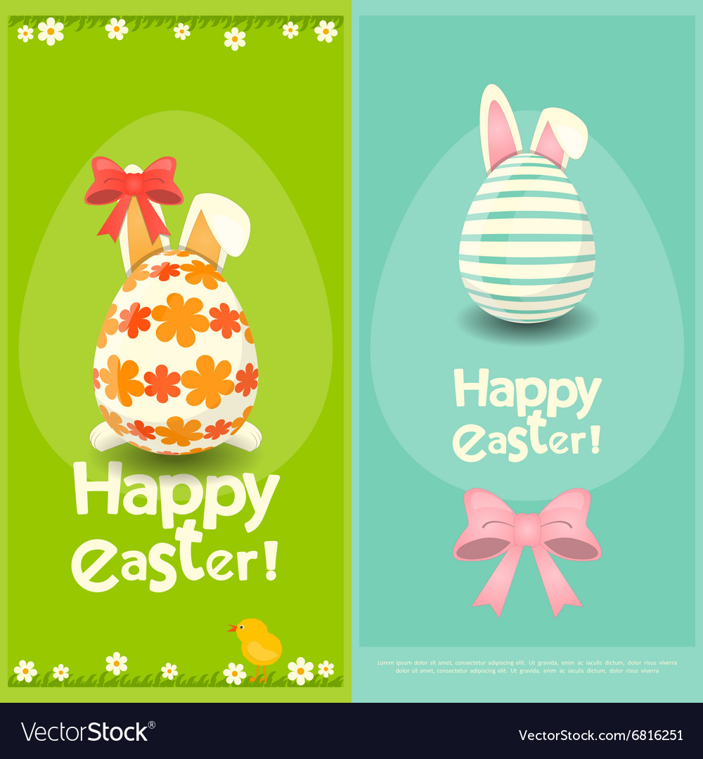 Happy Easter Greeting Cards Royalty Free Vector Image