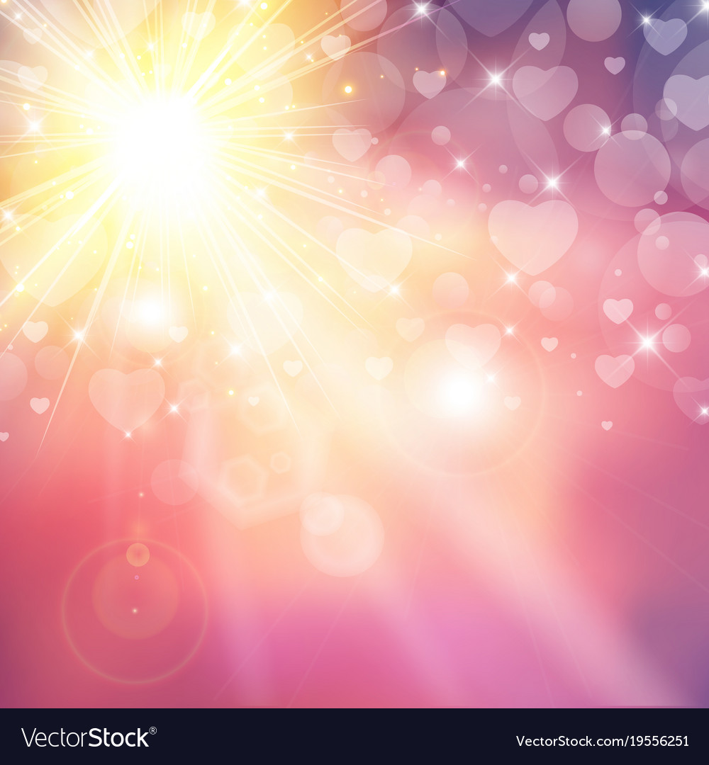Happy valentines day shiny sunlight heart bokeh vector image