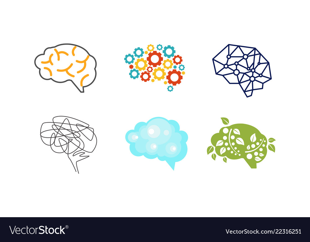 Human brain set thinking or mind bright sign