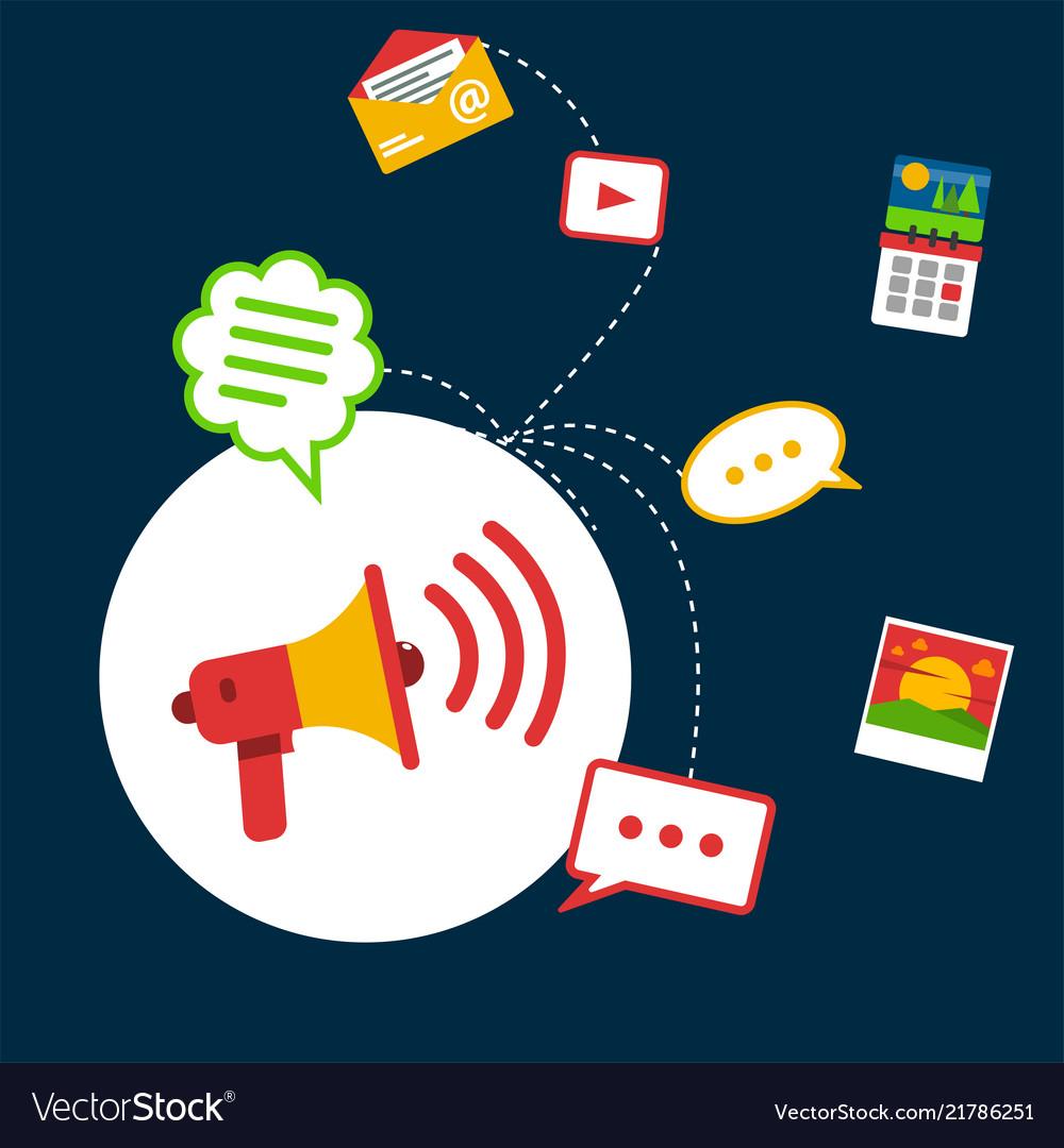Infographic social network concept megaphone backg