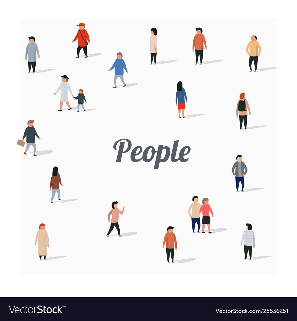 Large group walking people flat cartoon