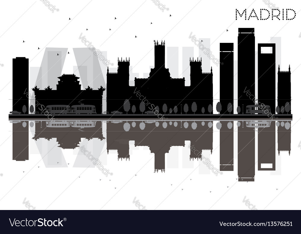 Madrid city skyline black and white silhouette