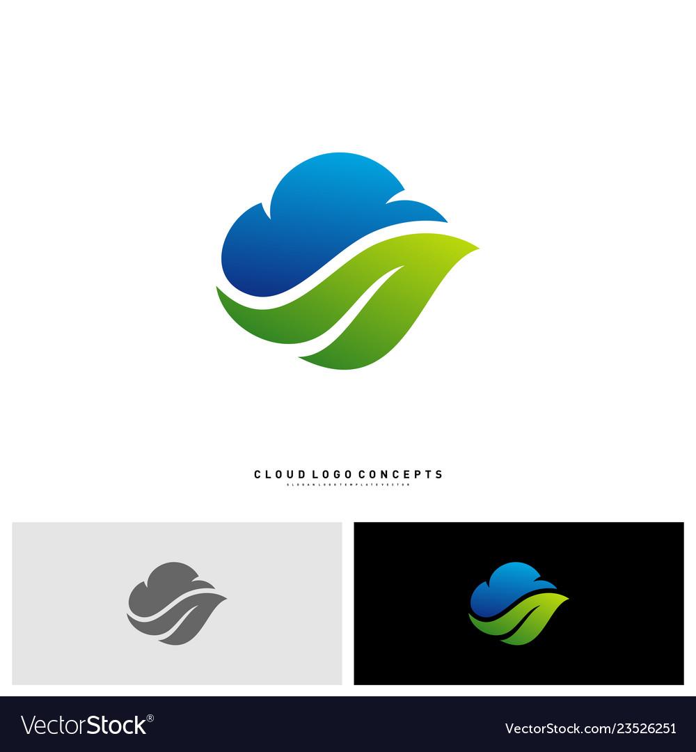 Nature cloud logo design concept cloud with leaf