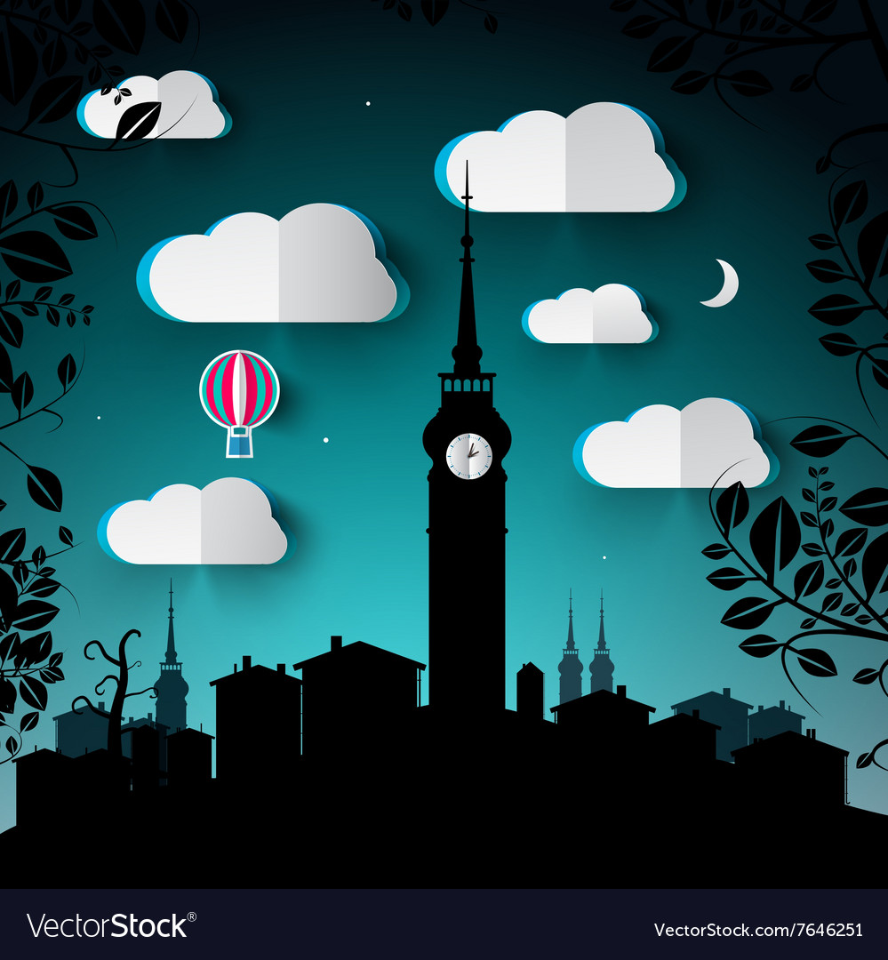 Night Landscape with City and Tower Silhouette and