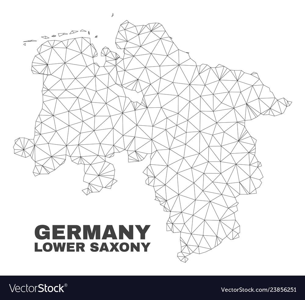 Lower Saxony Germany Map.Polygonal Mesh Lower Saxony Land Map Royalty Free Vector