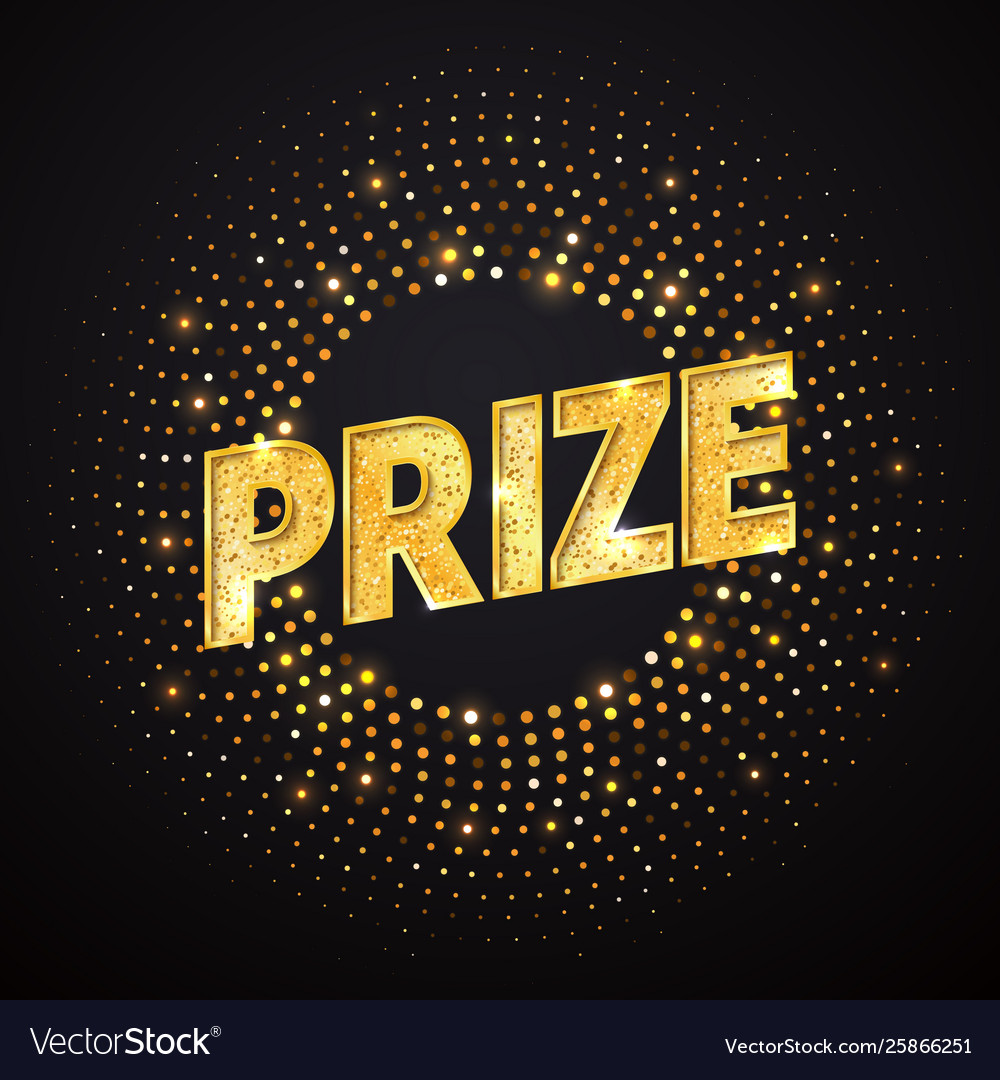 Prize golden word design element isolated