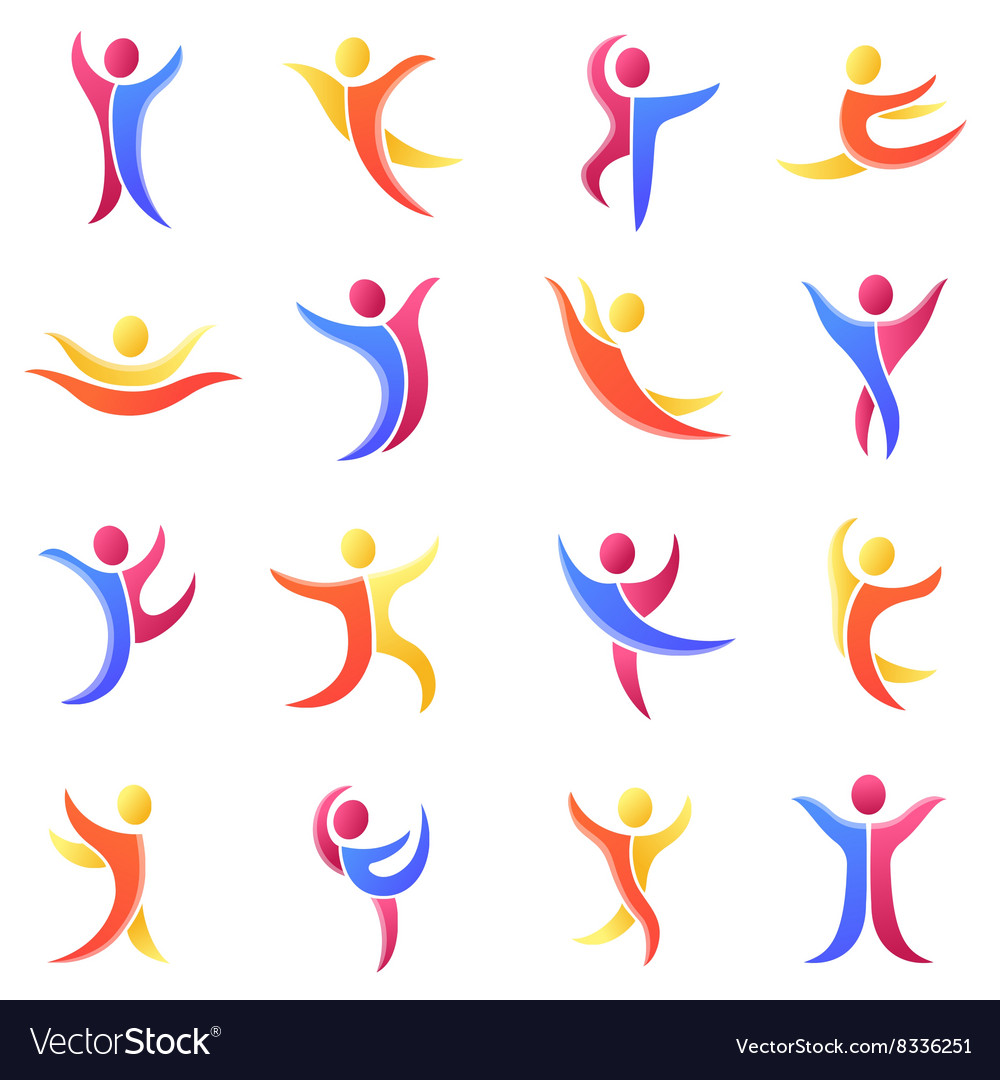 Silhouette different abstract people and twins vector image