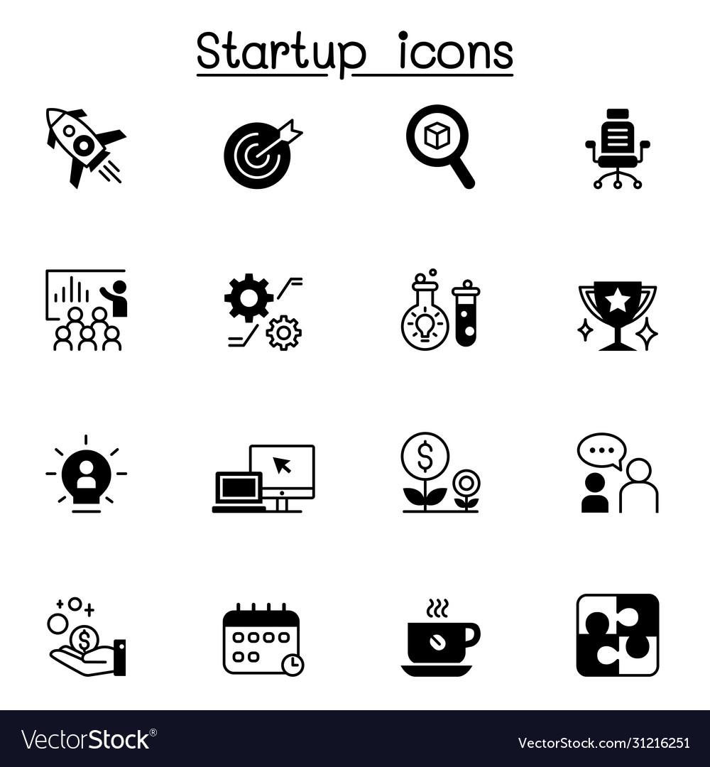 Startup icon set graphic design