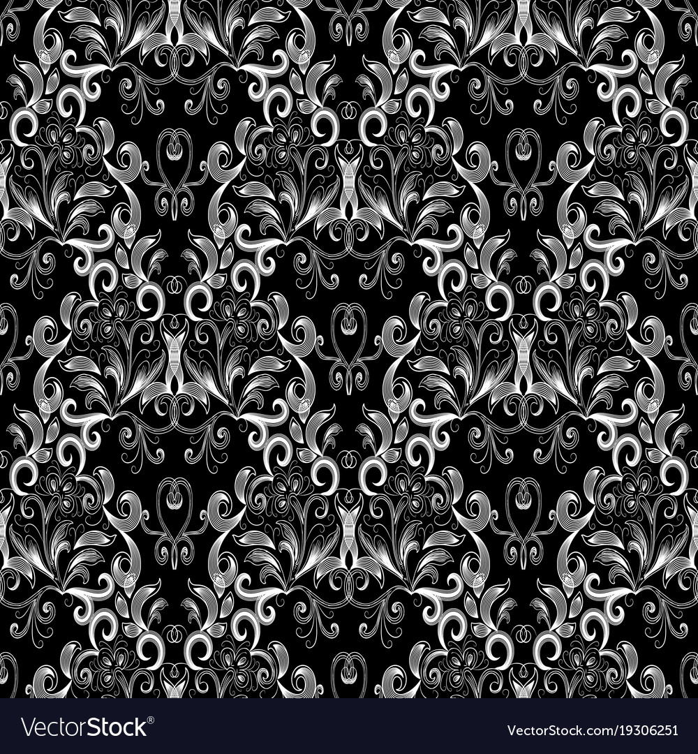 Vintage Black White Floral Seamless Pattern Vector Image
