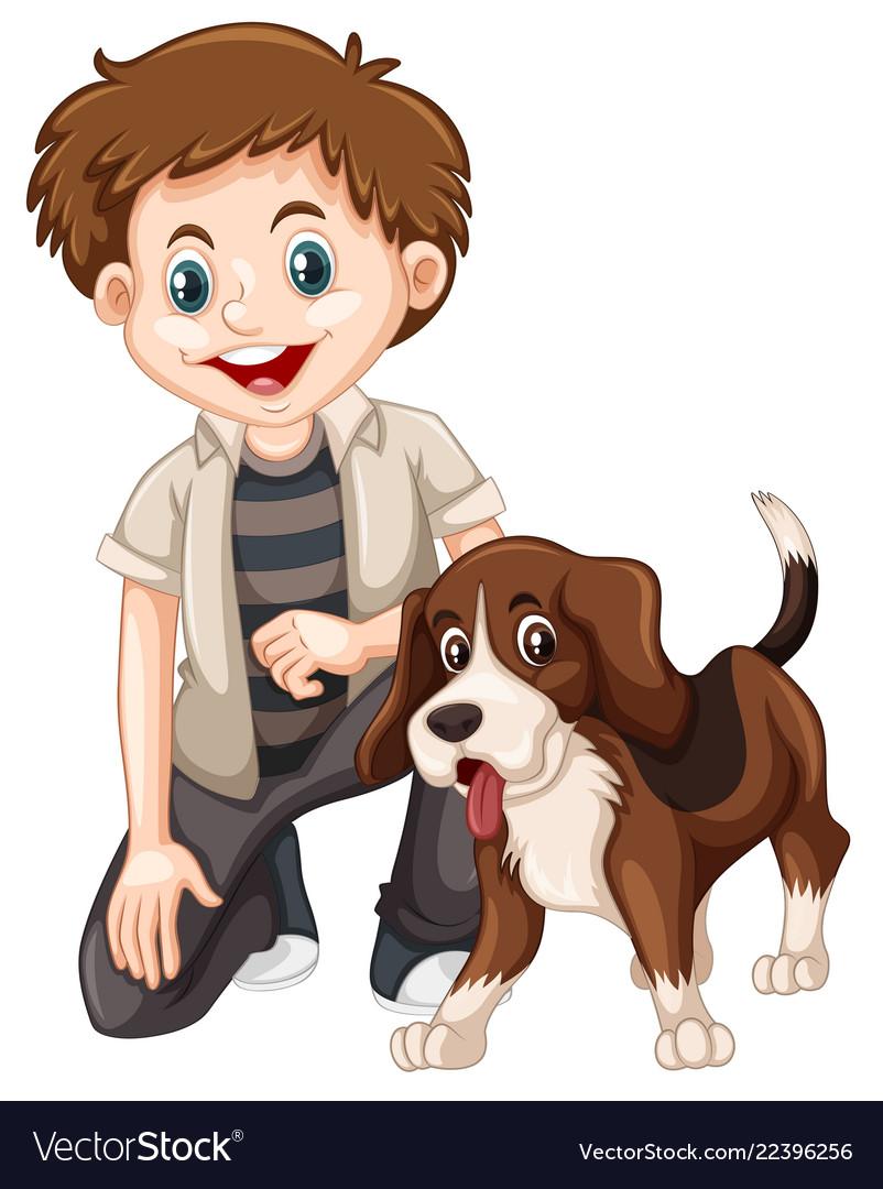 A boy and dog Royalty Free Vector Image - VectorStock