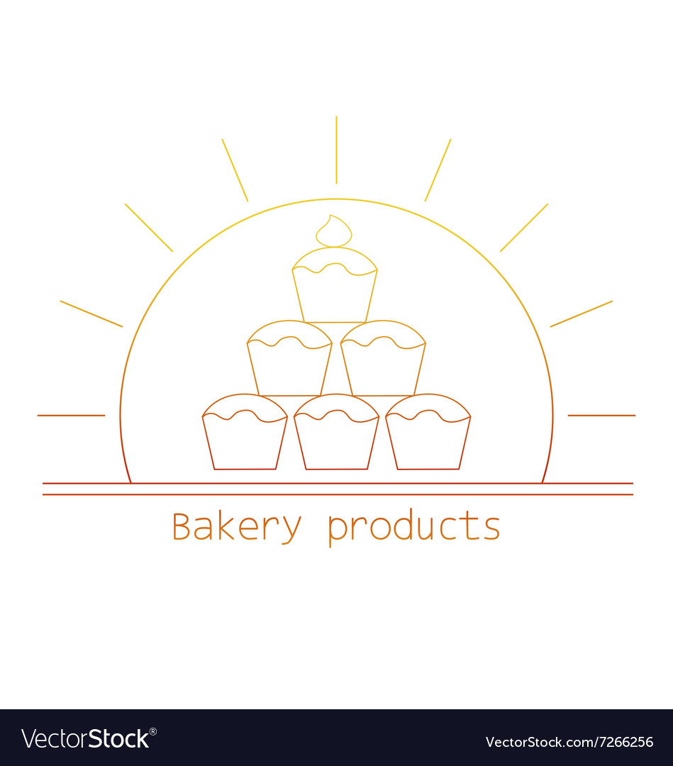 Bakery product mono line logo with cupcakes