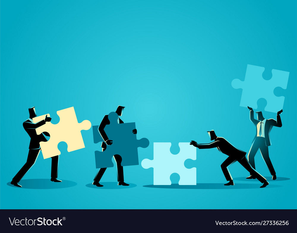 Businessmen with puzzle piece