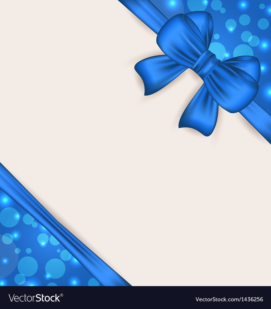 Cute blue wrapping with ribbon bow vector image