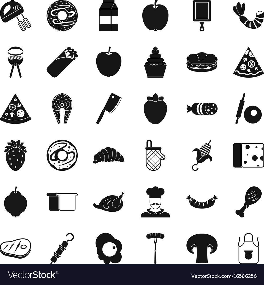 Delicious dish icons set simple style