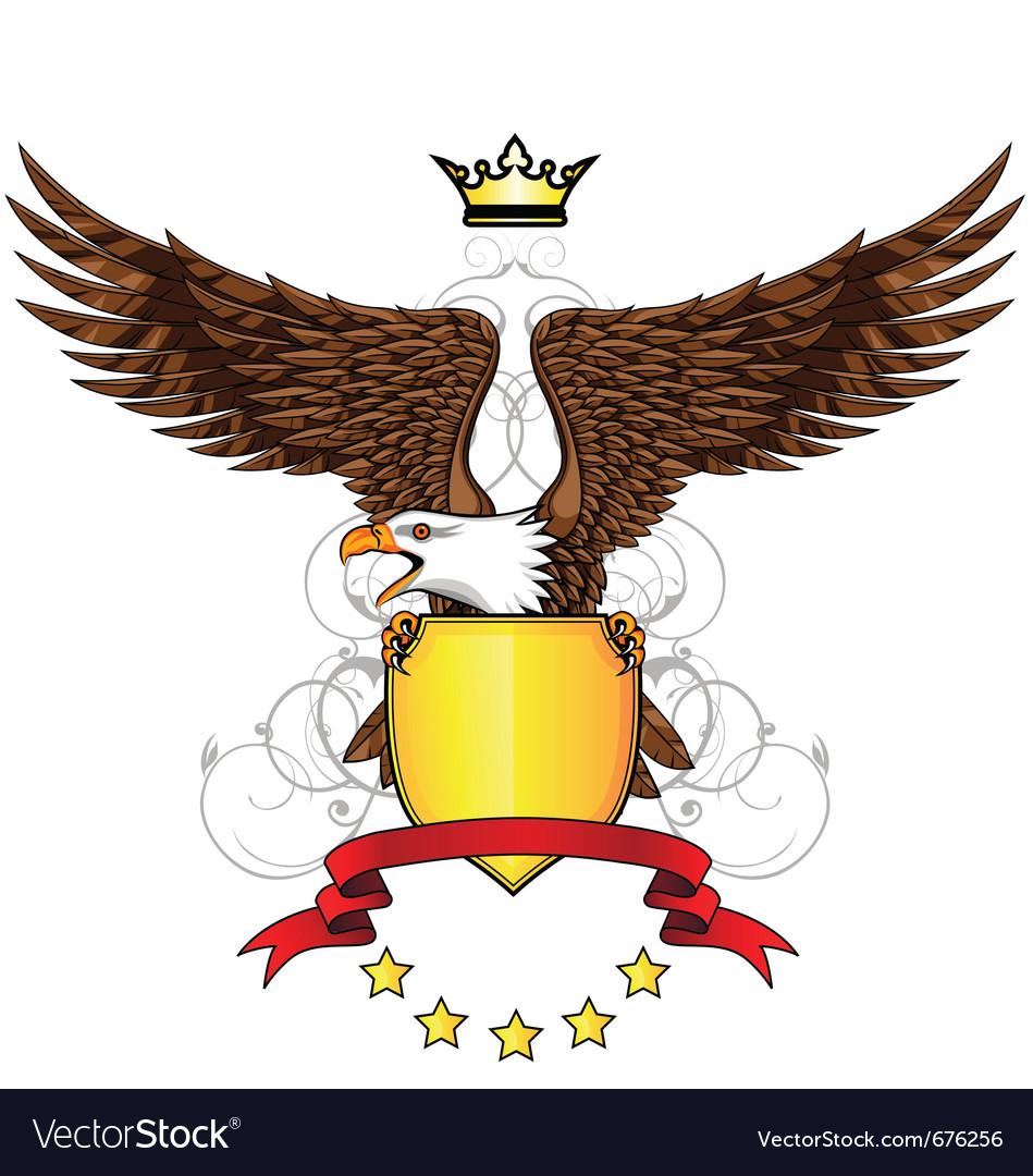 Eagle with emblem vector image