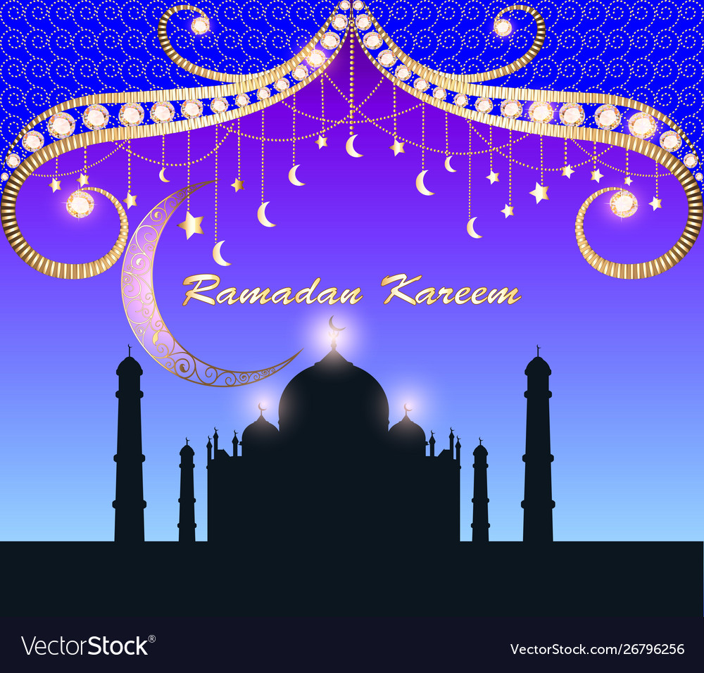 Festive greeting card for ramadan with temple and