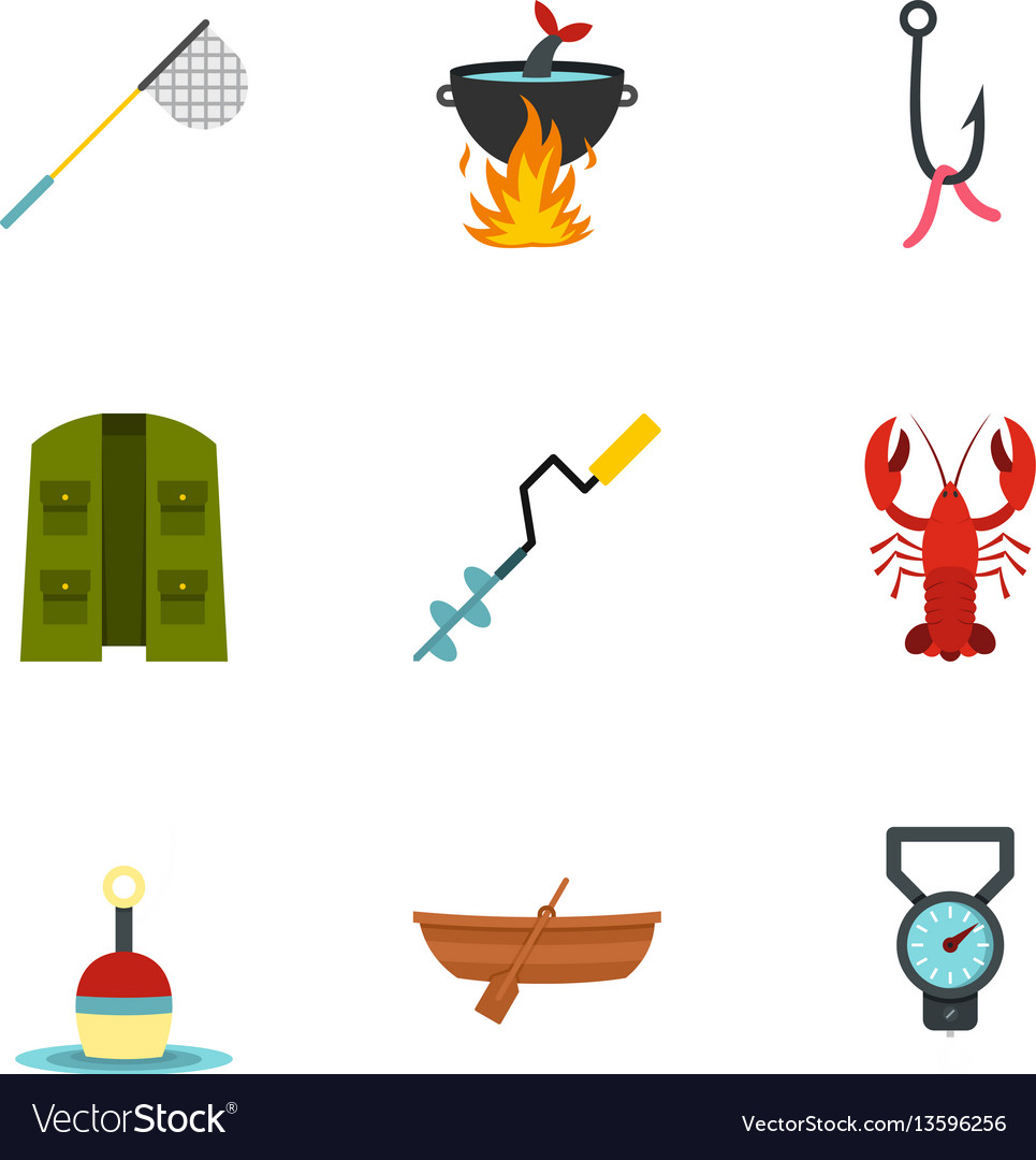 Fisher icons set flat style