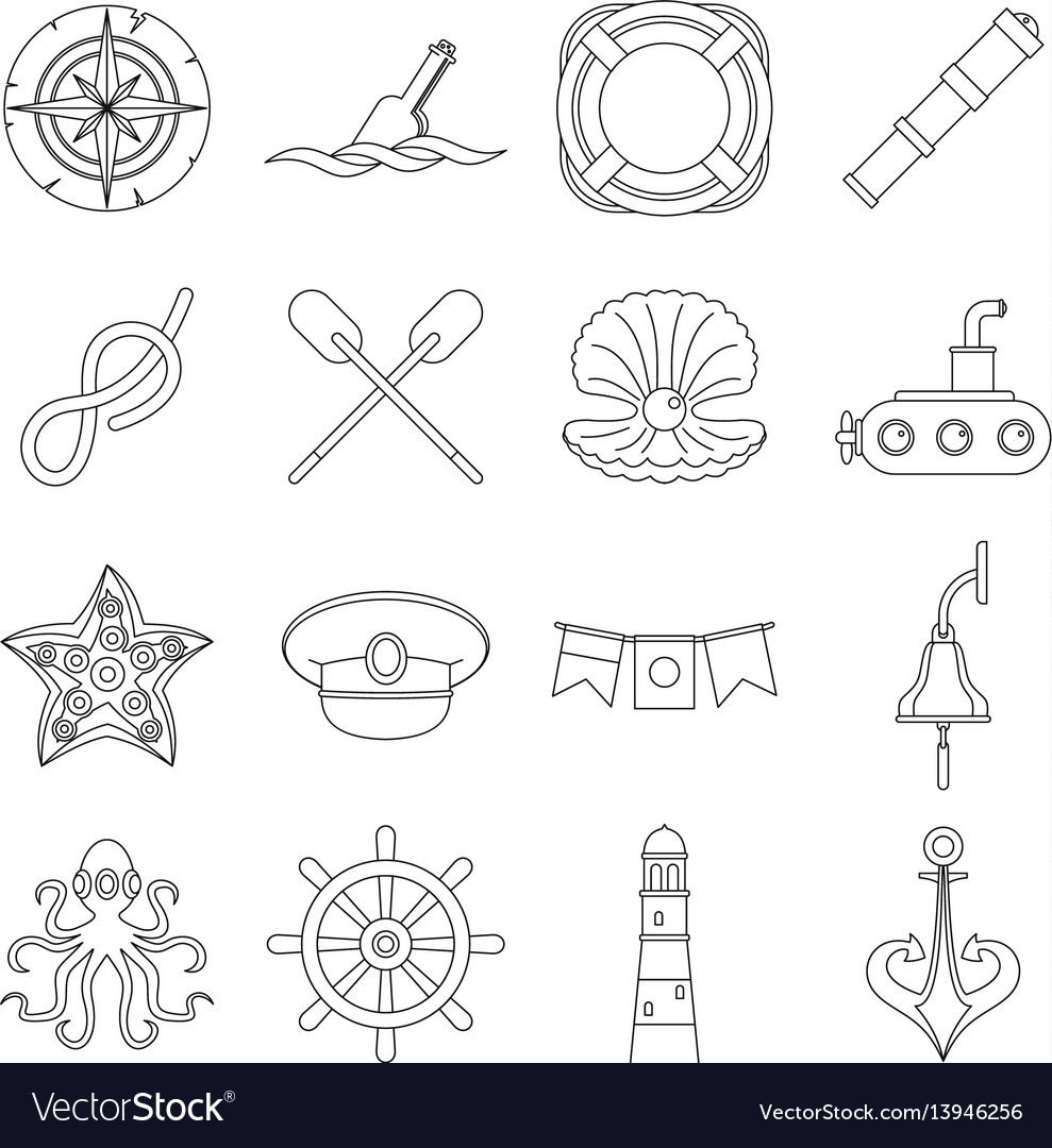 8a6c56c06 Nautical icons set outline style