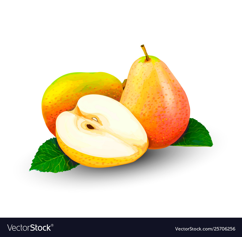 Pear whole and slices sweet fruit on a white