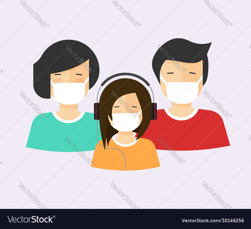 People in medical face mask or family with child
