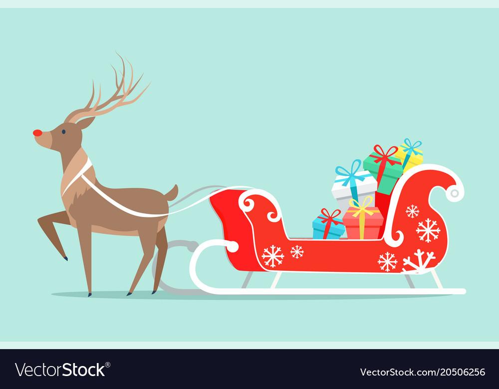 Santa claus sleigh and deer vector image