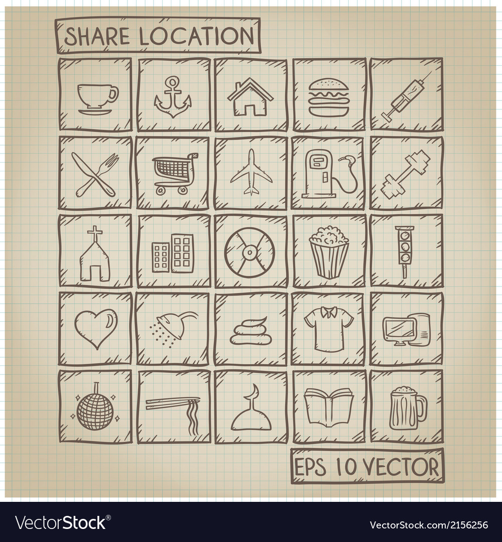 Shared Location Icon Doodle Set vector image