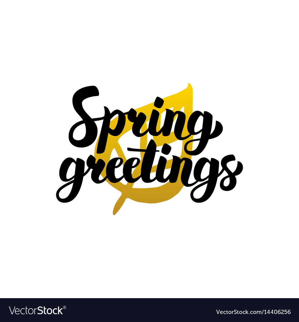 Spring greetings handwritten lettering vector image